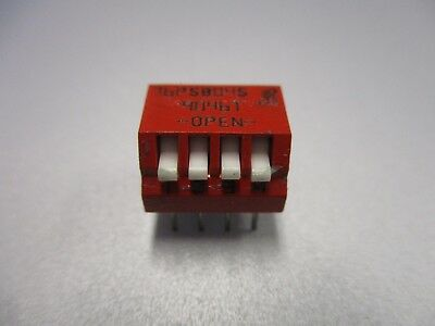 DIP Switch, 4 Position PC Mount Piano Switch (NOS, New Old Stock)(QTY 5 ea)D24