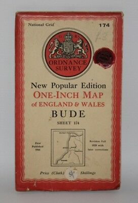 Ordnance Survey - One Inch Cloth Map - Bude - Sheet 174 - 1946