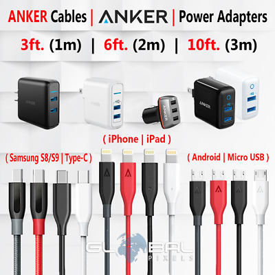 Anker iPhone OR Android (Micro USB) OR Type-C Cable 3/6/10FT Charger lot Adapter