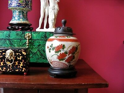 antique style vintage porcelain jar wood top stand china hand painted well done