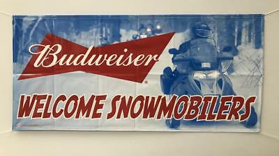 "NEW Budweiser Welcome Snowmobilers 72"" x 34"" Outdoor Banner"