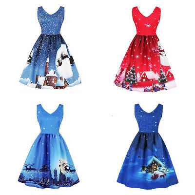 Women's Christmas Print Princess Dress On The Back With Shoulder Straps