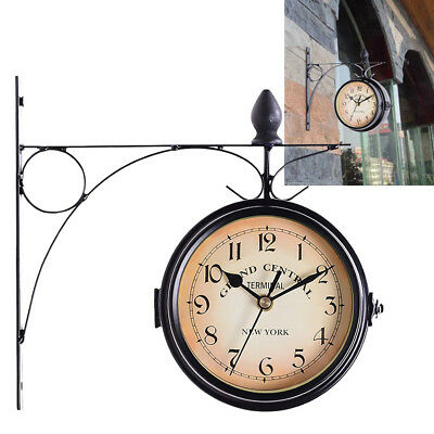 Metal Antique Wall Clock Garden Hallway Outdoor Station Double Sided Mount Gift
