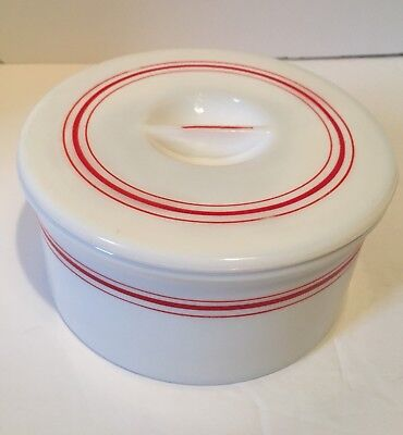 Vintage Hazel Atlas White Milk Glass Grease Jar Refrigerator Dish With Lid