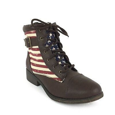 Qupid Womens 5.5 Plateau Boots American Flag Patriotic Leatherette Lace Up