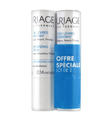 2 x Uriage Moisturizing Lip Stick Balm For Damaged Lips 0.14oz / 4g New Sealed