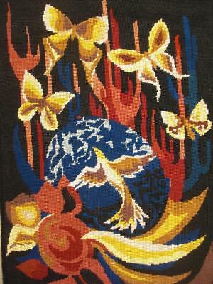 "vintage needlepoint Humming bird and butterfly completed tapestry 20""x14.5"""
