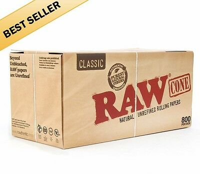 1000 Pack - RAW Classic Cones 1 1/4 Authentic Pre-Rolled Cones w/ Filter