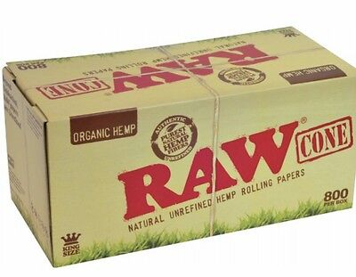 200 Pack - RAW Organic Cones King Size Authentic Pre-Rolled Cones w/ Filter