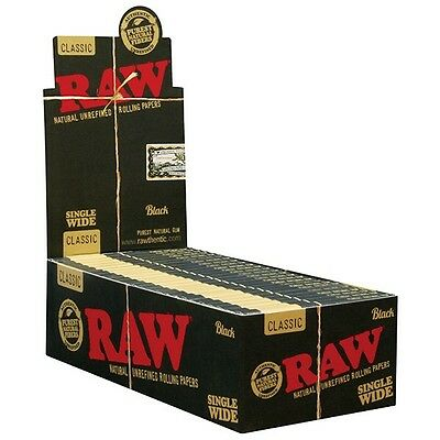 RAW Black Hemp Natural Unrefined Hemp Rolling Papers - 1 Pack - Single Wide