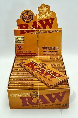 RAW Classic Hemp Natural Unrefined Gum Rolling Papers 1 Pack King Size Supreme