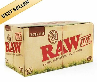 900 Pack - RAW Organic Cones 1 1/4 Authentic Pre-Rolled Cones w/ Filter