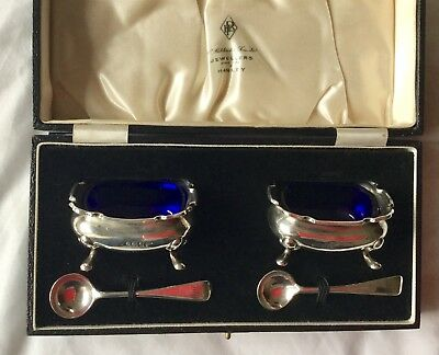 Antique solid silver salts with spoons, boxed Walker & Hall, 1913