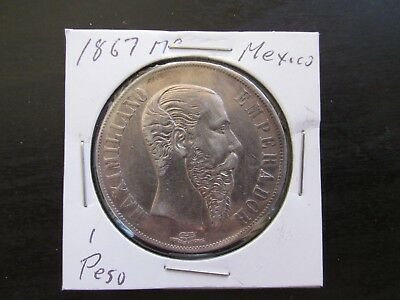 1867 Mo Mexico Silver 1 Peso in AU/MS Condition (Old Cleaning)