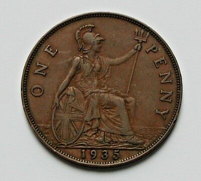 1935 UK (British) George V Coin - One Penny (1d) -