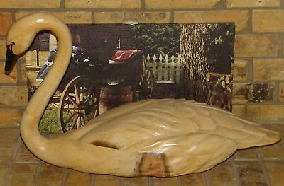 Large Antique Carved Wooden Swan Duck Decoy Pine Wood Glass Eyes Black Beak 30""