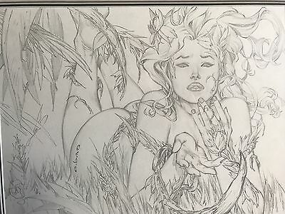 EBAS Eric Basaldua Pencil Poison Ivy Original Commission Comic Art. Mint A4