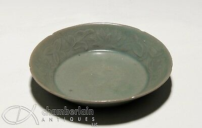 Unusual Antique Chinese Carved Celadon Dish With Lotus
