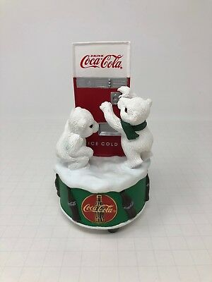 """Coca-Cola Polar Bear Cubs Christmas Music Box """"Dad Showed Me How"""" New In Box"""