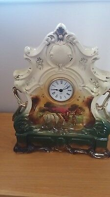 Unusual Victorian Hand Painted Porcelain, Ornate Cased Mantle Clock.good Order.