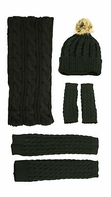 Exotic Identity Women's Cable Knit, 4 Piece Tundra Gift Set - Infinity Scarf,...