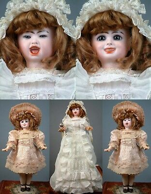 "Jumeau Series Fantastique 2-Faced Character Bebe 18"" All Original w/Trousseau"