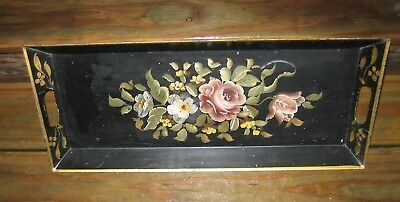 VTG Handpainted Toleware Black Gold Rose Floral Metal Tin Tray 9 x 21