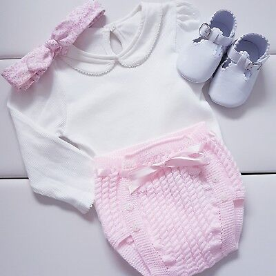 Unique Traditional Baby girl spanish jam pants bloomers knitted with bow
