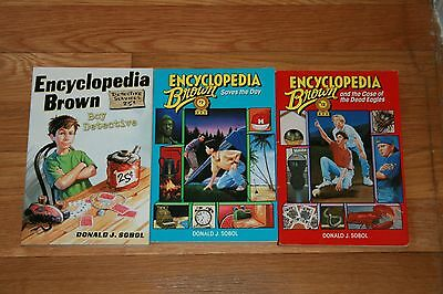 Lot of 3 books Donald J Sobol Encyclopedia Brown Saves the Day Dead Eagles 7 12