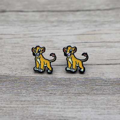 "Lion King SIMBA Enamel/Metal 1/2"" Stud Earings In Gift Box"
