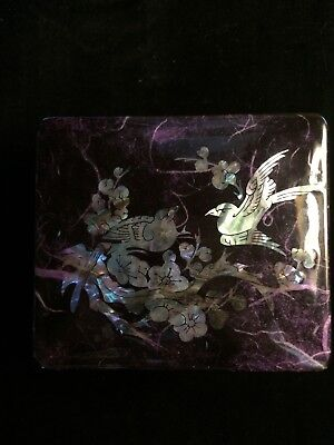 Black Lacquer Jewelry Box Mother Of Pearl/abalone Inlay Birds Turtle Latch