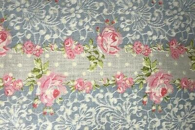 "1 Yd Vintage Floral Dotted Swiss Rose Stripe Cotton Quilt Fabric BTY 36"" X 44"""