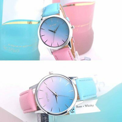 Retro Rainbow Design Women Watches PU Leather Band Analog Alloy Quartz Watch SS