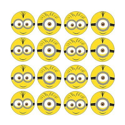 16x EDIBLE Minions Despicable me cupcake Birthday Wafer Paper 4cm (uncut)