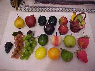 vintage mixed lot-fruit&vegetables refrigerator magnets-grapes-basket-potatoe+