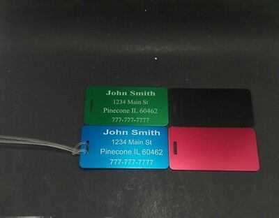 "Set of 4 Custom Engraved Metal Luggage Backpack Laptop ID Tags  2"" x 4"""