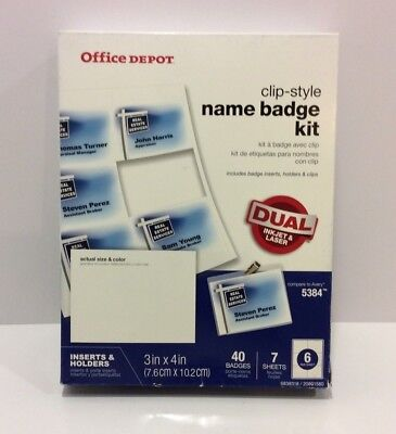 """Office Depot Brand Top-Load Name Badge Holders Clip-Style 3"""" x 4"""" Clear 40 Pack"""