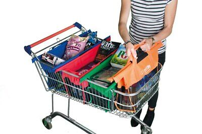 NEW Set of 4 Shallow Shopping Trolley Bags Reusable Eco-Friendly Supermarket