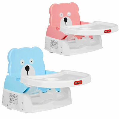 Portable Folding Booster Seat Toddler Chair Adjustable Height Safety Belt Tray