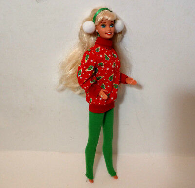 Mattel 1976 Barbie doll in Christmas Holiday outfit blonde blue eyes ear muffs
