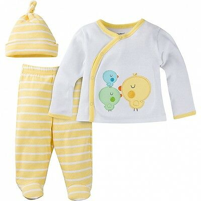 Gerber 3 Piece Set Take-Me-Home Neutral Size Newborn NEW Yellow Chick Unisex