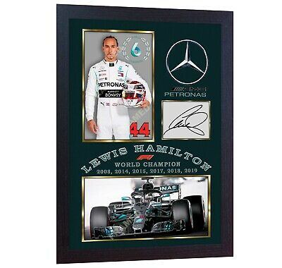 NEW 2019 F1 World Champion Lewis Hamilton signed autographed photo print FRAMED.