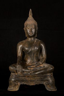 19th Century SE Asia Sukhothai Thai Enlightenment Buddha Statue - 43cm/17""