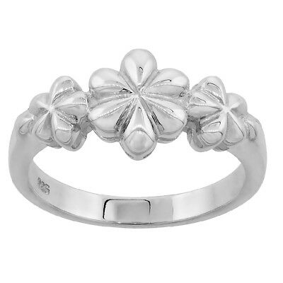 Sterling Silver Dainty 3 Flowers Ladies Ring, High Polished Flawless Quality