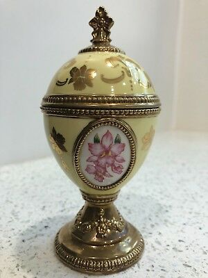 House of Fabrege Franklin Mint ORCHID MUSICAL EGG Tchaikovsky Song of the Lark
