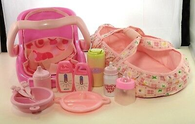 GRACO Pink Baby Doll Carrier Car Seat Toy Cloth Bottles Monitors