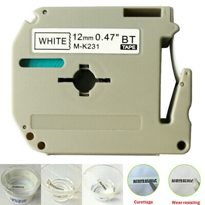 M-K231 Label Tape Cassette Compatible For Brother P-touch Serie Tze PT65 12mm*8m