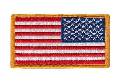 "REVERSE AMERICAN FLAG EMBROIDERED PATCH ""Iron on"" GOLD BORDER US UNITED STATES"
