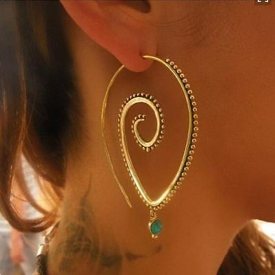 Boho 18K Gold Filled Hollow Engagement Hoop Earrings Drop Dangle Jewelry Gifts