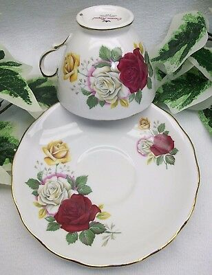 Vintage Crown Royal Tea Cup and Saucer Bone China Floral Rose Gold Trim England